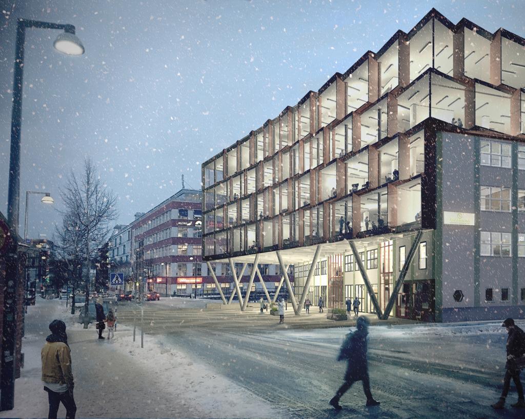 Kontorsbyggnad med genomskinliga glasfasader från golv till tak.